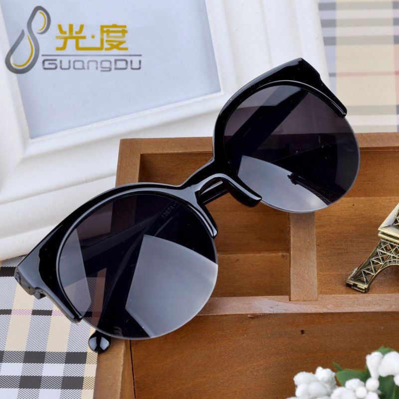 GUANGDU Fashion Cat Eye Sunglasses Women Retro Vintage Half Frame Eyewear Brand Designer Round Circle Semi-Rimless Glasses UV400