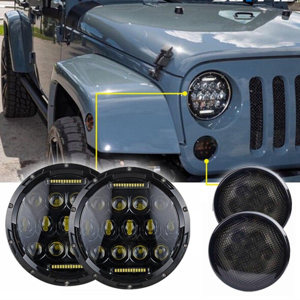 7 дюймов 75W Н4 Н13 светодиодные фары и светодиодные Сторона передний поворотник для джип Вранглер