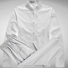 Summer new 2017 white silk long-sleeve shirt men outerwear fashion shirts men chinese tunic tang suit set shirt + pant 3XL