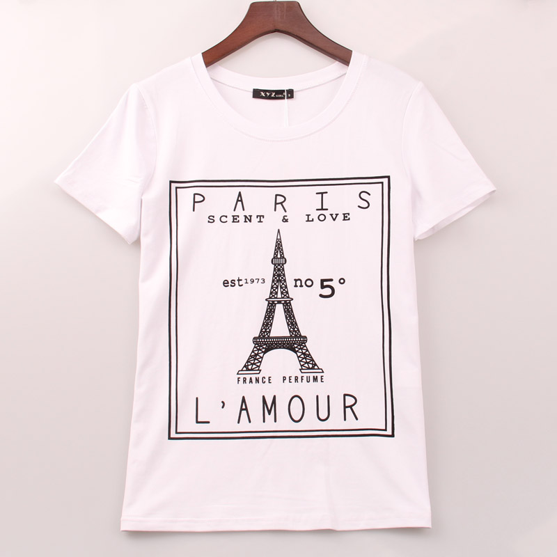 2017 plus size t shirt women eiffel tower printed printing for T shirt print dimensions