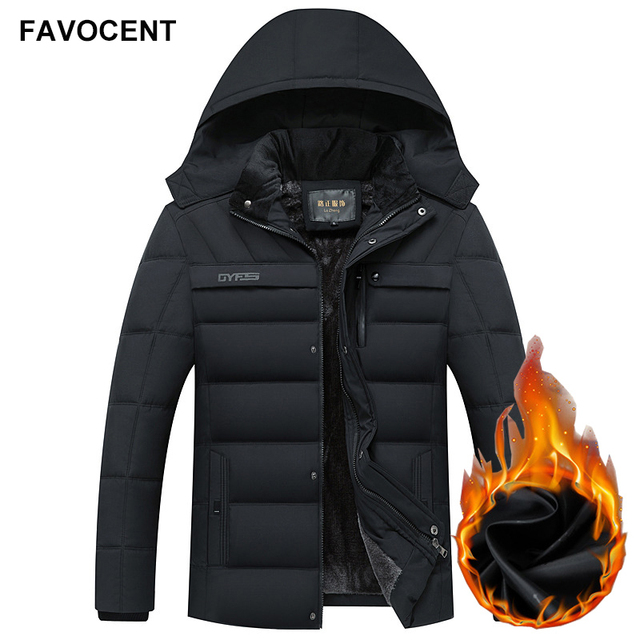 FAVOCENT Winter Jacket Men Thicken Warm Men Parkas Hooded Coat Fleece Man's Jackets Outwear Windproof Parka Jaqueta Masculina