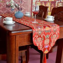 JaneYU Chinese Style Multicolored With Cloud Head And Wavy Imitation Silk Brocade Tablecloth Table Runner