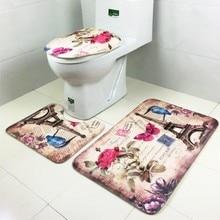 3 unids/set estilo europeo romántico parís torre patrón alfombra de baño de franela contour rug carpet tapa del inodoro de baño set