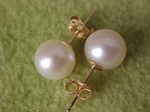 free shipping HOT AAA 8-9MM NATURAL SOUTH SEA WHITE PEARL EARRINGS 14k/20 SOLID GOLD MARKED