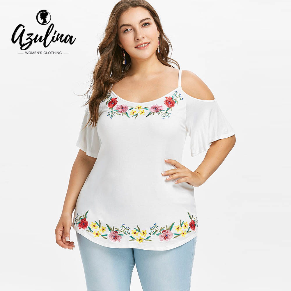 AZULINA Plus Size Cold Shoulder Floral Embroidered   Blouse   Summer White Spaghetti Strap Half Sleeve   Blouses     Shirts   Ladies Tops