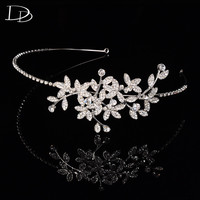 Luxury Leaves Design Bridal Tiara For Women Austrian Crystal Wedding Hair Accessories 585 Gold Plated Crown