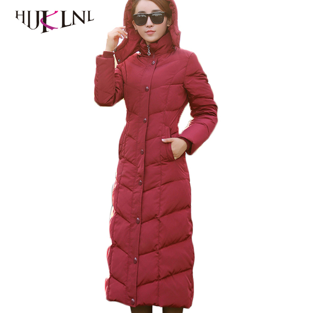 HIJKLNL padded winter down jacket for women white duck down coat 2017 long puffer coat silm thicker down parkas hooded LZ351