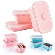 3PCS/Set Portable Silicone Collapsible Lunch Box For Student Set Simple Soup Bowl Picnic Storage Tableware Boxs
