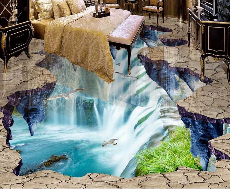 ФОТО 3d flooring custom wallpaper for walls 3 d photo wallpaper 3d floor Waterfalls Lotus Carp living room 3d pvc flooring waterproof