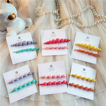 1 Pair New Korea Simple Fashion Candy Color Hairpins Temperament Girl Women Popular Colorful Imitation Pearl Hair Accessories
