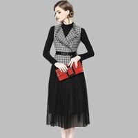 HIGH QUALITY Winter Fashion 2019 Designer Runway Suit Set Women's Tweed Mesh Patchwork Dress +2 piece Dress Set Free belt