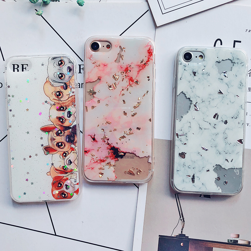 Luxury Gold Foil Bling Marble Phone Cases For iPhone X 10 Cover Hole Soft TPU Cover For iPhone 7 8 6 6s Plus Glitter Case Coque (12)