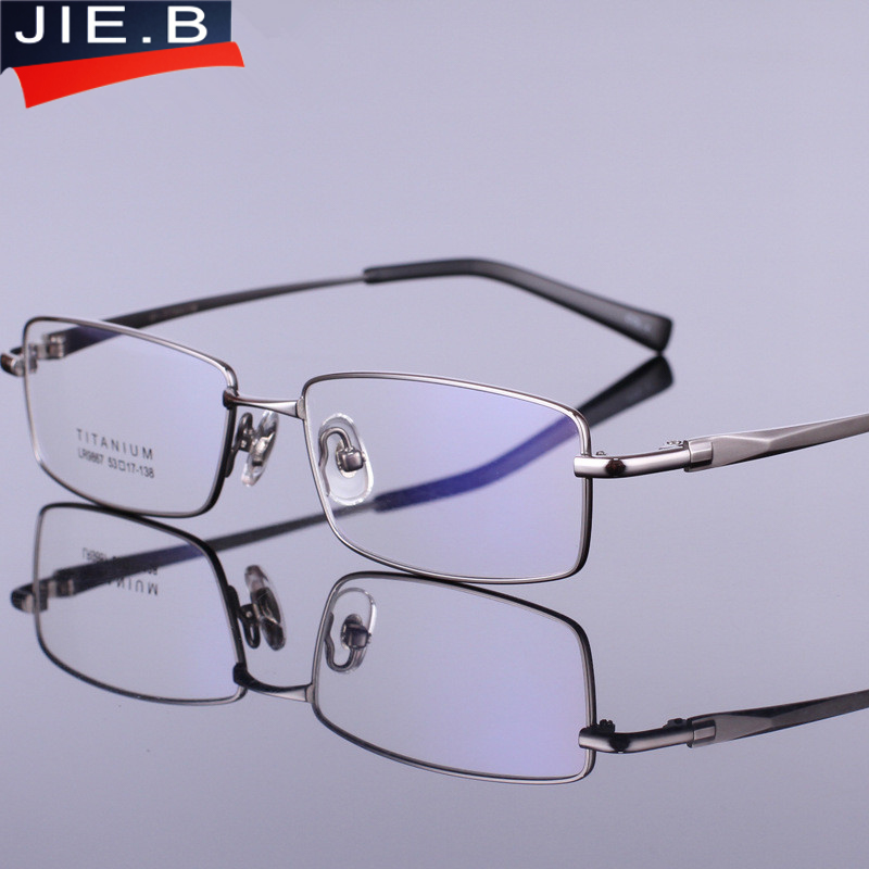 2017 hombres puros Titanium gafas marco óptico del medio borde ...