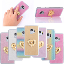 For Samsung Galaxy S9 S 9 Case Heart-shaped Pattern Ring Holder Stand Luxury Glitter Cover Case For Samsung Galaxy S9 Plus S9+ filp case for samsung galaxy s9 cat and bees pattern wallet stand cover