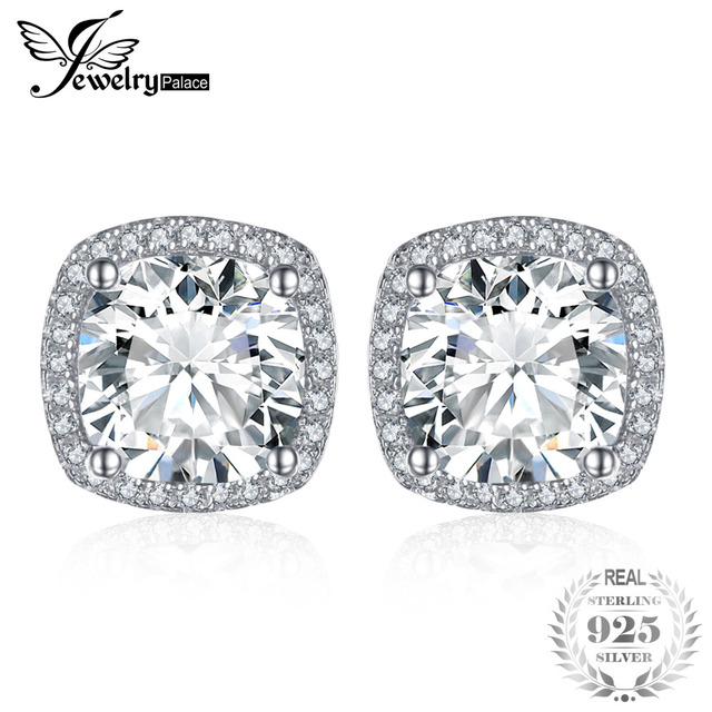JewelryPalace Cushion 5ct Cubic Zirconia Halo Stud Earrings 925 Sterling Silver Engagement Wedding Luxury Fine Jewelry For Women
