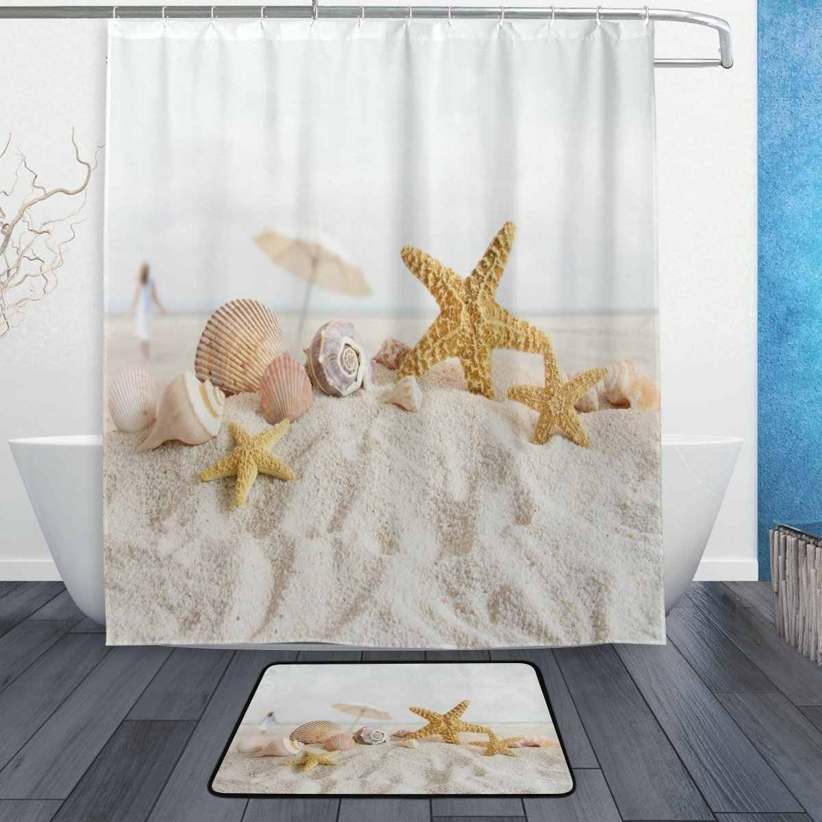 Ocean Beach Sea Theme Shower Curtain and Mat Set, Starfish Seashell Waterproof Fabric Bathroom Curtain Modern