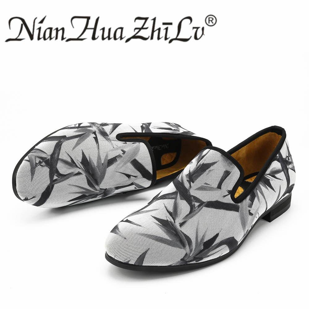 Nieuwe Stijlen mannen Ademende Schoenen Afdrukken Effect Casual Mode Mannen Loafers Slippers Party mannen Flats-in Casual schoenen voor Mannen van Schoenen op  Groep 2