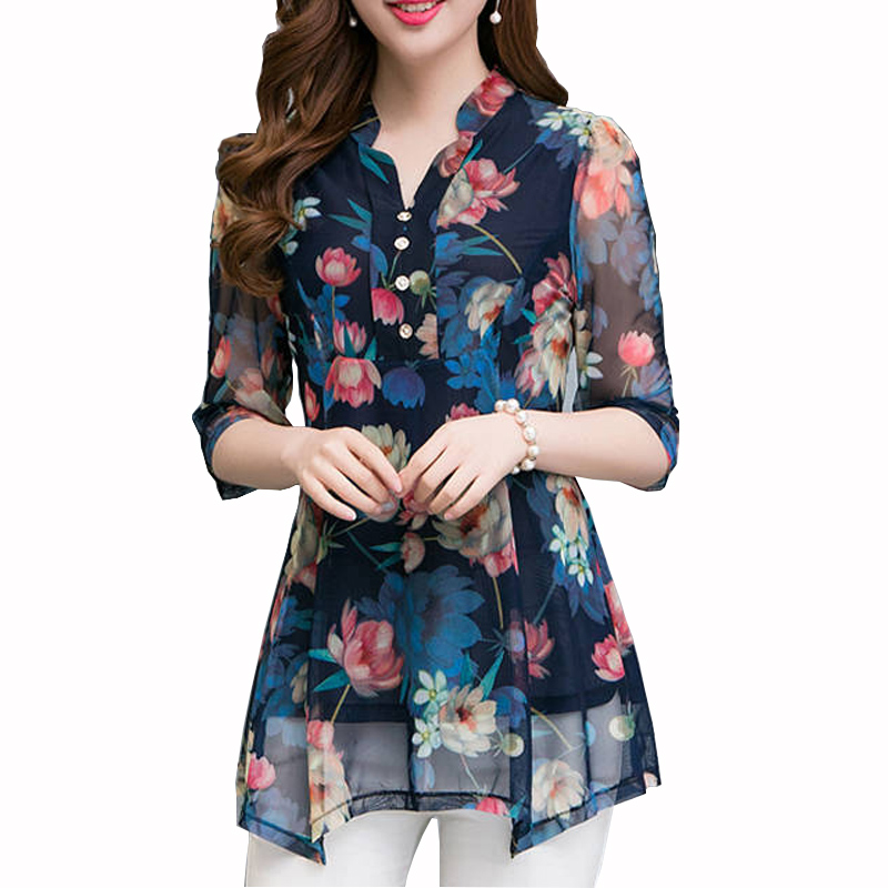 Plus Size 5XL Summer Shirt 2019 Womens Tops And Blouses Casual Half Sleeve V Neck Print Floral Blouse Female