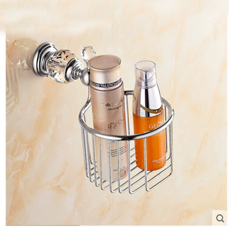 Chrome Crystal Wall Mount Bathroom Toilet Paper Holder Accessories Shelf Basket free shipping ba9105 bathroom accessories brass black bronze toilet paper holder