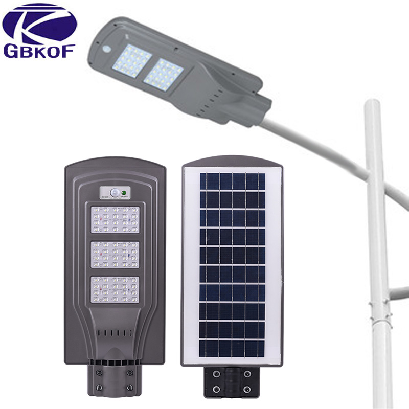 GBKOF Outdoor Motion Sensor Solar Powered LED Pole Wall Street Path Solar Light For Garden 3 Working Mode Solar Lamp 20W 40W 60W