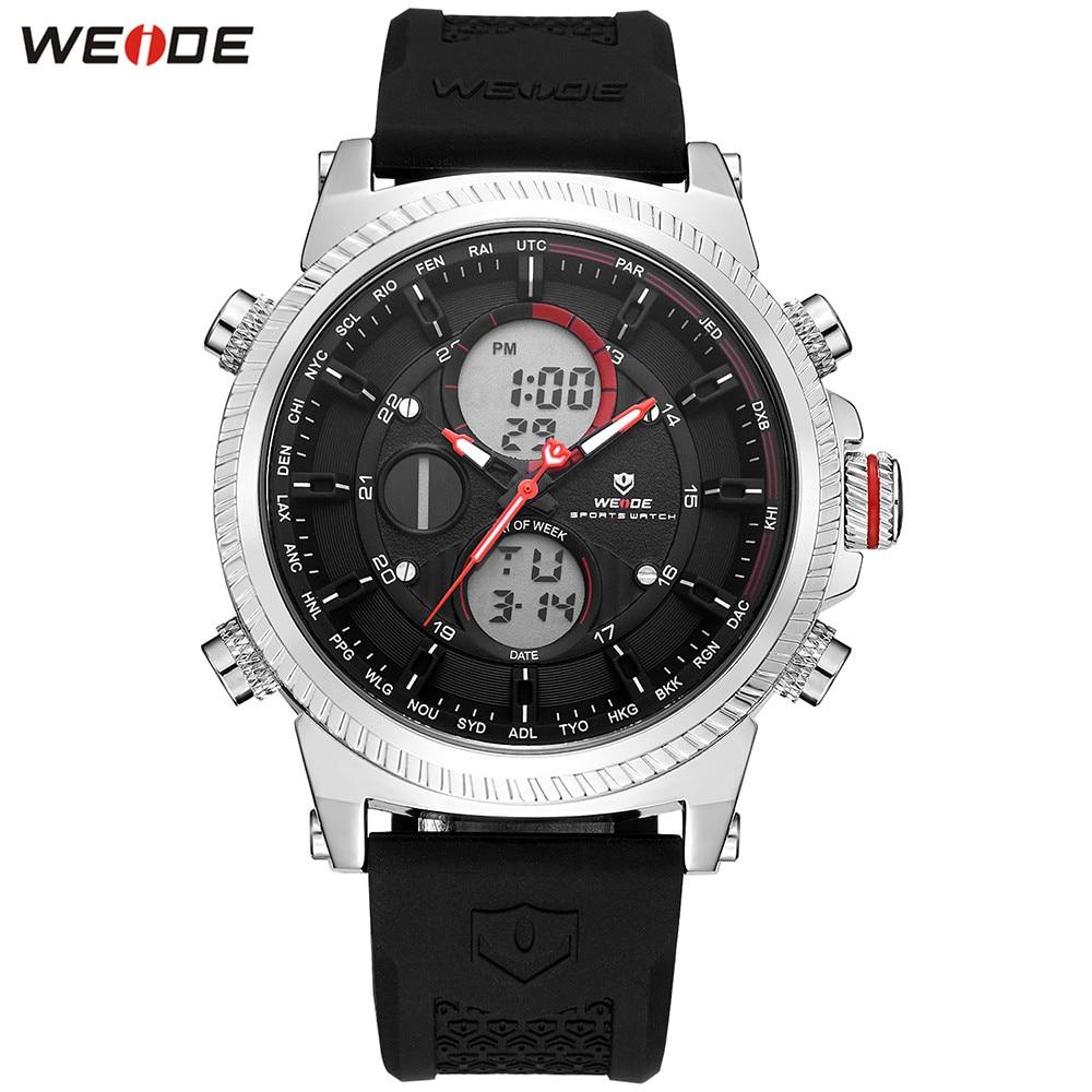 Original Fashion WEIDE Watch Mens Sport Watch Men Digital Quartz LED Dual Time Zone Watch Alarm Waterproof Wristwatch Clock Gift