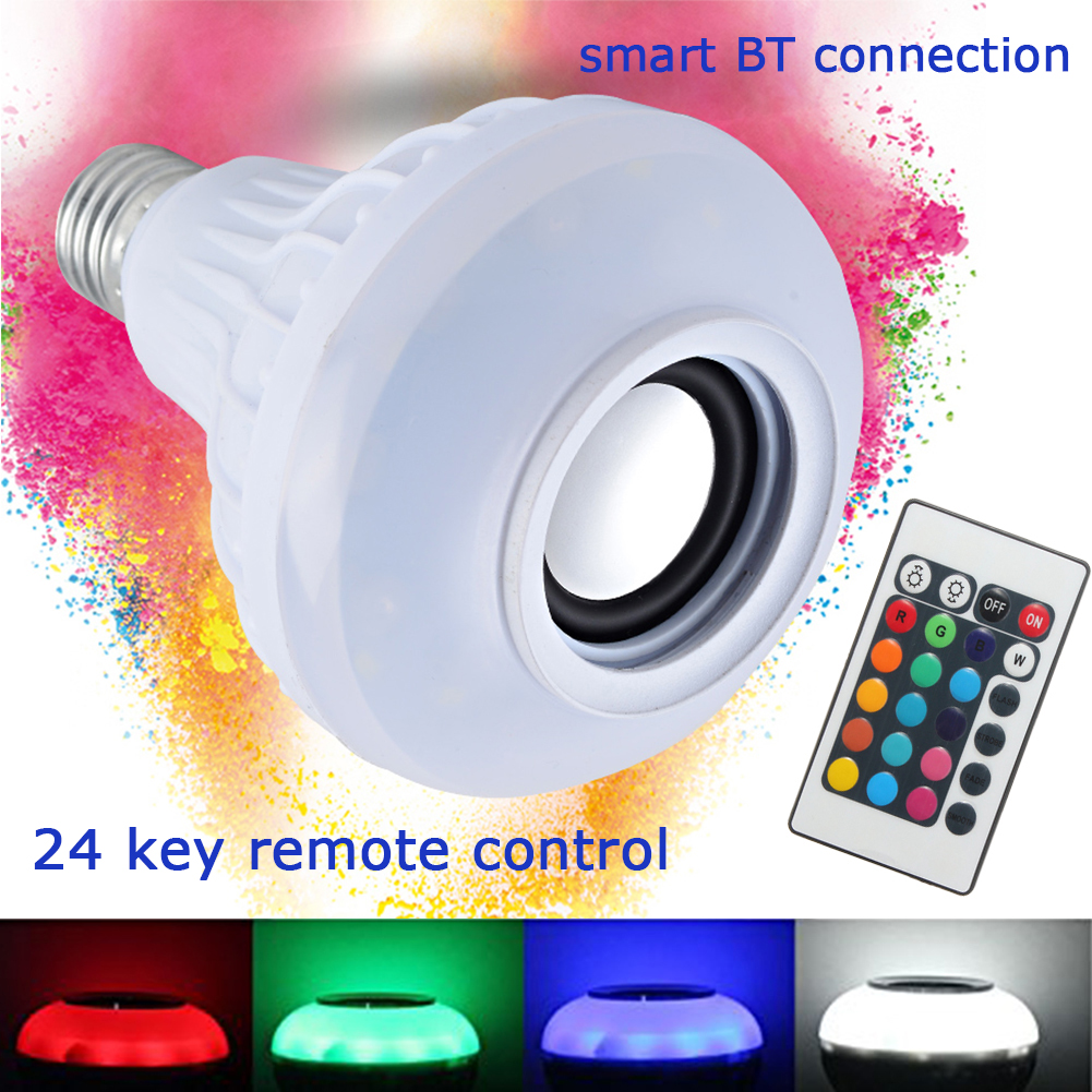 2 in 1 E27 12W RGB Dimmable Led Bulb 100V 240V Bluetooth Speaker Bulb Music Playing LED Lamp Light with 24 Keys Remote Control
