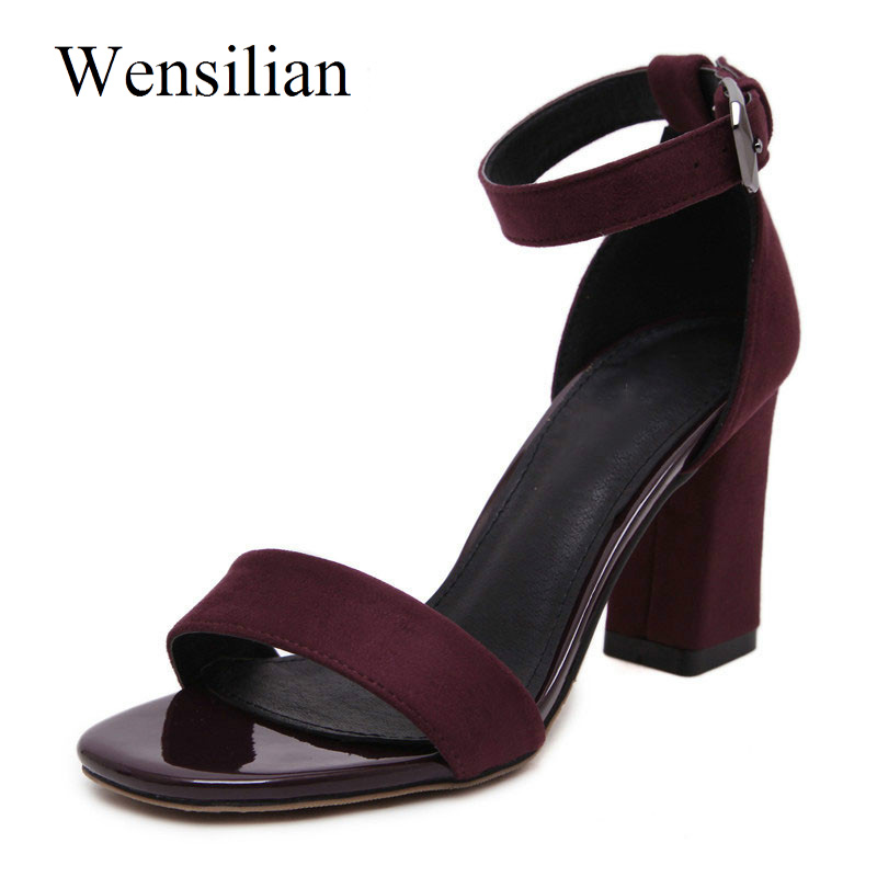 Summer Women High Heels Peep Toe Pumps Gladiator Sandals Ankle Buckle Ladies Square Heel Sandals Women Shoes Red Chaussure Femme lakeshi summer women pumps small heels wedding shoes gold silver stiletto high heels peep toe women heel sandals ladies shoes