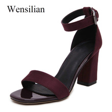 Summer Women High Heels Peep Toe Pumps Gladiator Sandals Ankle Buckle Ladies  Square Heel Sandals Women a94ccb7f086a