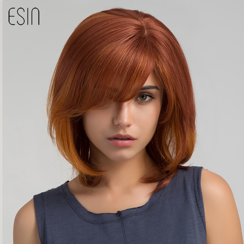 Esin Blend Hair 12 Ombre Color Wig Realistic Simulation Scalp Bob Synthetic Blend Wigs with Bangs Side Parting for Women Girls