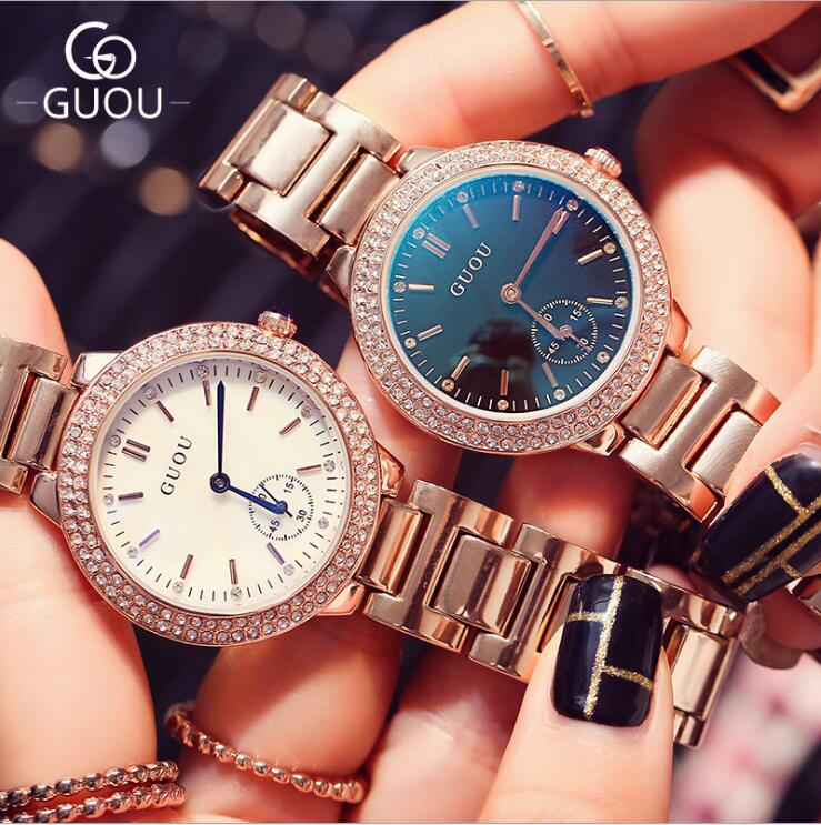 GUOU Watch Women Luxury Blu-ray Ladies Watch Stylish Water Diamond Watch Full Steel Quartz Watch Wristwatch fashion reloj mujer fashion luxury guou watch women watch reloj mujer stainless steel quality diamond ladies quartz watch women rhinestone watches