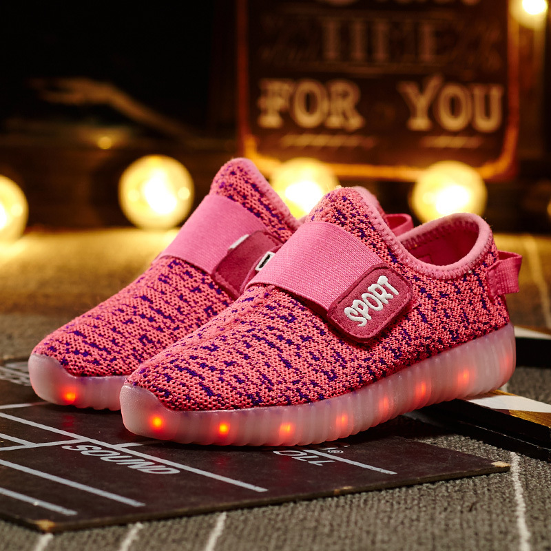 The New Coconut Light Shoes Children Breathable Weaving Board Shoes Led Light Shoes Wholesal Men's Casual Shoes