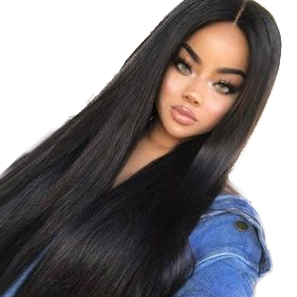 women long Black wigs for women Similar to full lace wigs human hair with baby hair straight long wigs for women 6623A classic femal long black wigs with neat bangs synthetic hair wigs for black women african american straight full wigs false hair