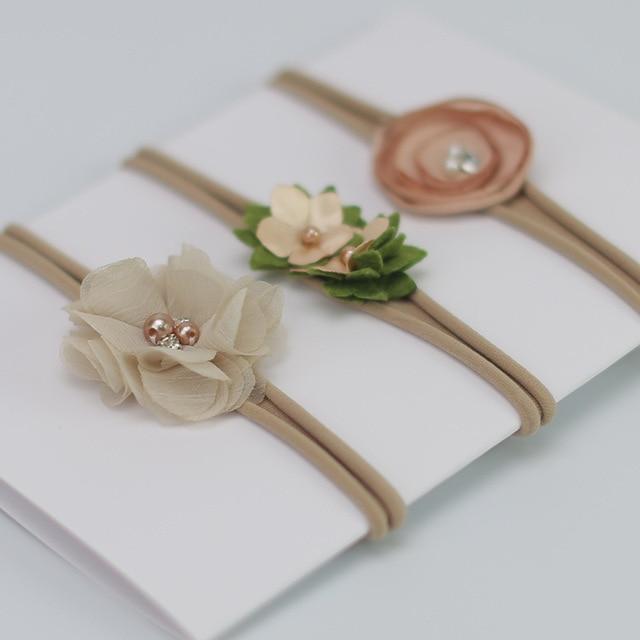 3 Pcs/Lot  Baby Headband Crown Flower Bows Girl Newborn Hair Accessories Elastic Band Turban 5