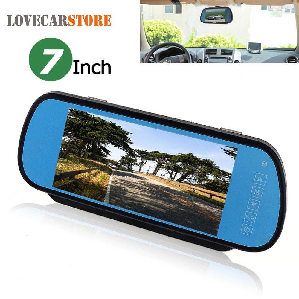 7 pouces couleur TFT LCD écran large voiture rétroviseur moniteur 2 entrée vidéo bouton tactile Parking automatique rétroviseur arrière moniteur