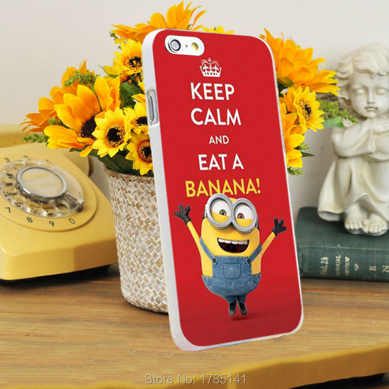 1pcs Cute Minions Keep Calm And Eat A Banana Design Hard White Skin Case  For Iphone6 (4.7inch) And Iphone6 Plus(5.5inch) On Aliexpress.com | Alibaba  Group