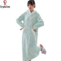 Nightgowns For Women Winter Thickening Fever Flannel Long Robe Cute Rabbit Hooded Nightdress Skirt Sleepwear Sleepshirts SY356