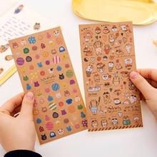 3pcs/lot Creative Japanese kraft paper cat sticker child diy toy Photo album Deco scrapbooking seal stationery