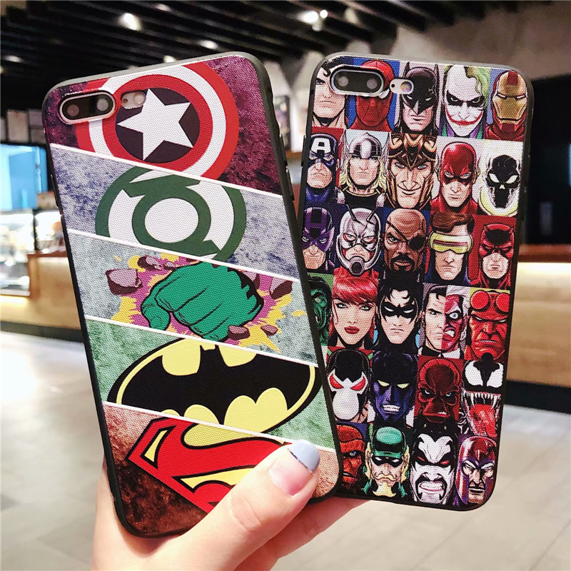 Cute Cartoon Marvel Superman Phone Cover Case For Iphone X Xs Max Xr 10 8 7 6 6s Plus 3d Relief  Iron Man Silicone Coque Fundas
