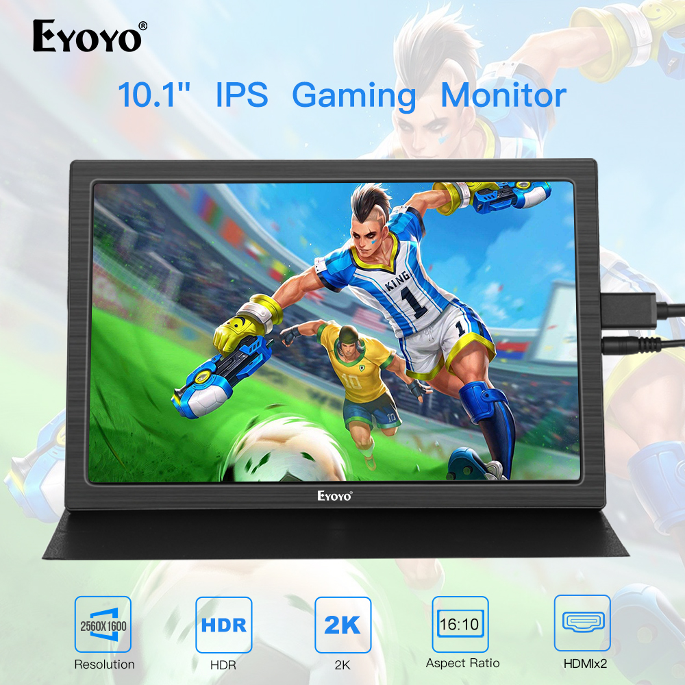 """Portable monitor portatil 10"""" inch 2560x1600 HDMI Leather Stand gaming PS4 LCD LED Display Raspberry pi 2 3 b monitores para pc"""