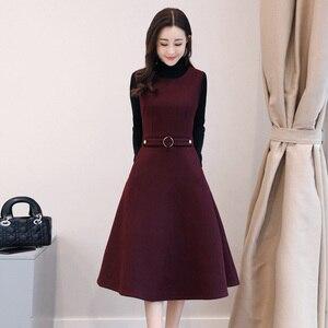 Image 3 - Women Wool Vest Dress Fashion Autumn Winter Elegant Slim O neck Sleeveless Dress Plus size Ladies With pocket Woolen Dress 3XL