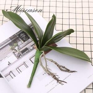 Image 5 - 1 adet Phalaenopsis yaprak yapay bitki yaprağı dekoratif çiçekler yardımcı malzeme çiçek dekorasyonu orkide yaprakları gerçek dokunmatik