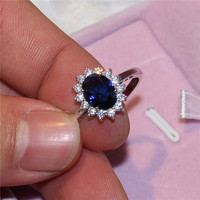 Eternal 925 silver jewelry Princess Diana Rings For Women Luxury Blue Sapphire Stone Party Engagement Bijoux Bridal Wedding Ring