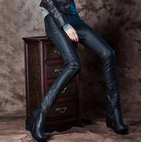 2017 İlkbahar sonbahar bayan deri pantolon kadın sıska pantolon kadın PU kalem pantolon ince pantolon moda ayaklar pantolon siyah S-2XL