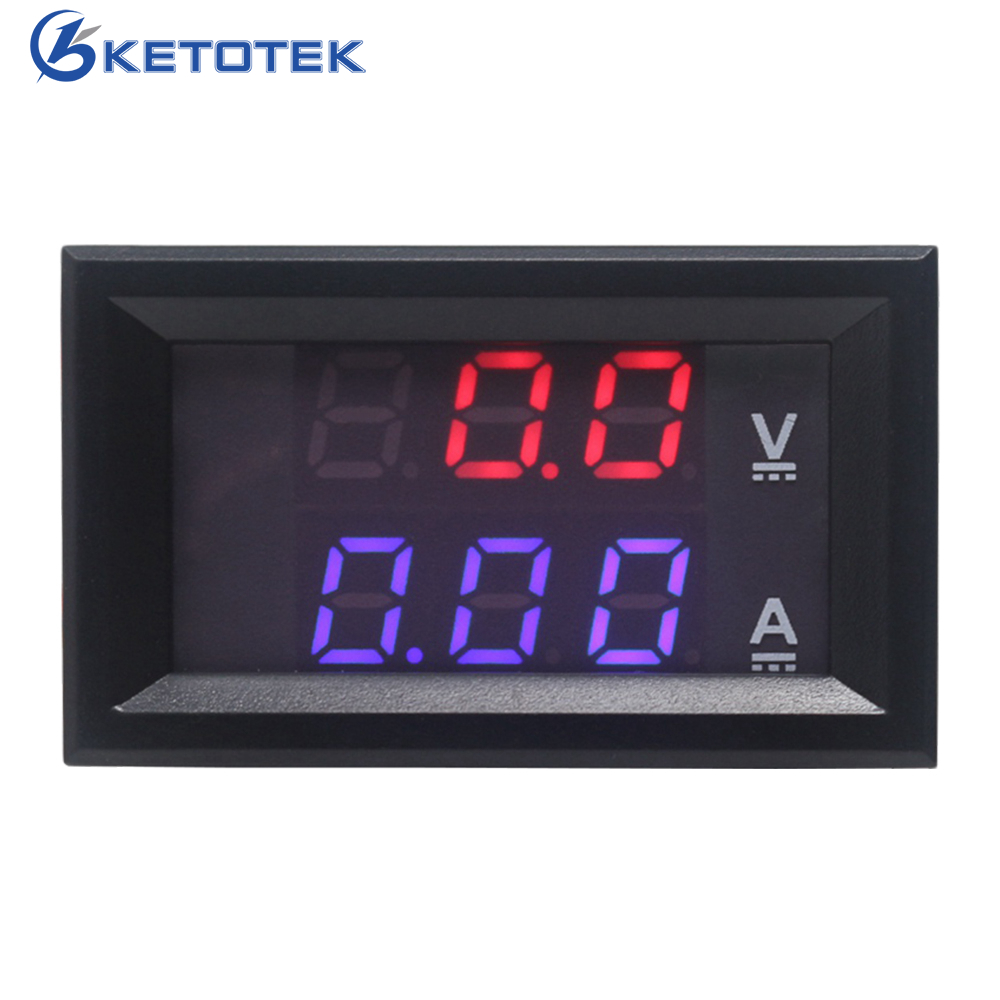 DC 0-100V/10A Digital LED Red Blue Display Ammeter Voltmeter Car Amp Volt Meter Powered By DC 4.5 - 30V
