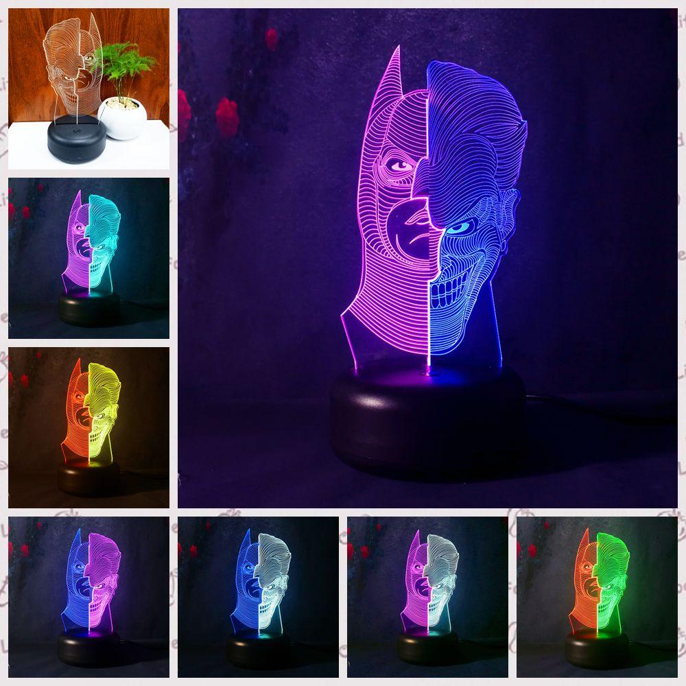 2018 HOTMOVIE Batman Action Figure Joker 3D Led Night Light Lamp Double Color Changing USB LED Bedroom Birthday Boy Toy gift