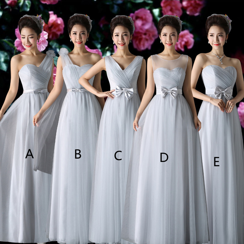 Holievery Light Gray Tulle A Line   Bridesmaid     Dresses   with Bow Floor Length Wedding Guest   Dress   robe demoiselle d'honneur