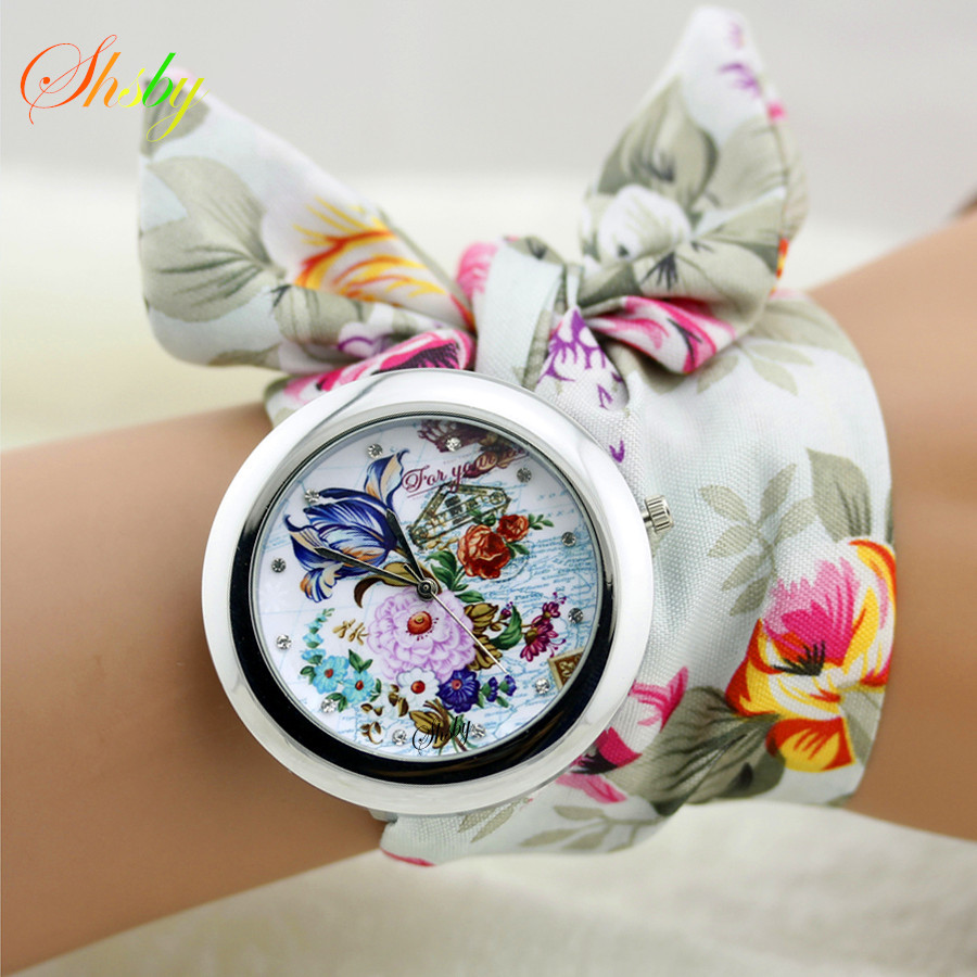 beautiful shipping watches fabric free quartz watch loveskywathes item floral dress in brand on band reloj from s women flower cloth
