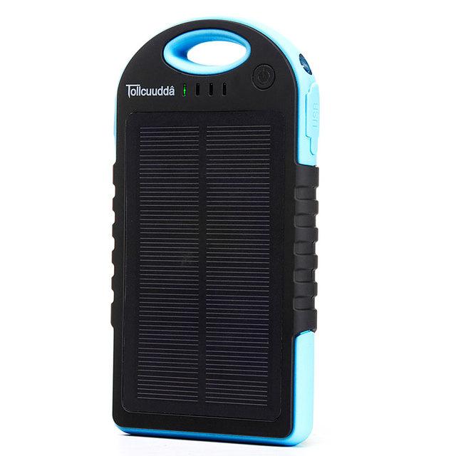 Tollcuudda 12000mAH Solar Power Bank Dual USB Charging External Battery Charger Portable Mobile Powerbank with Flashlight