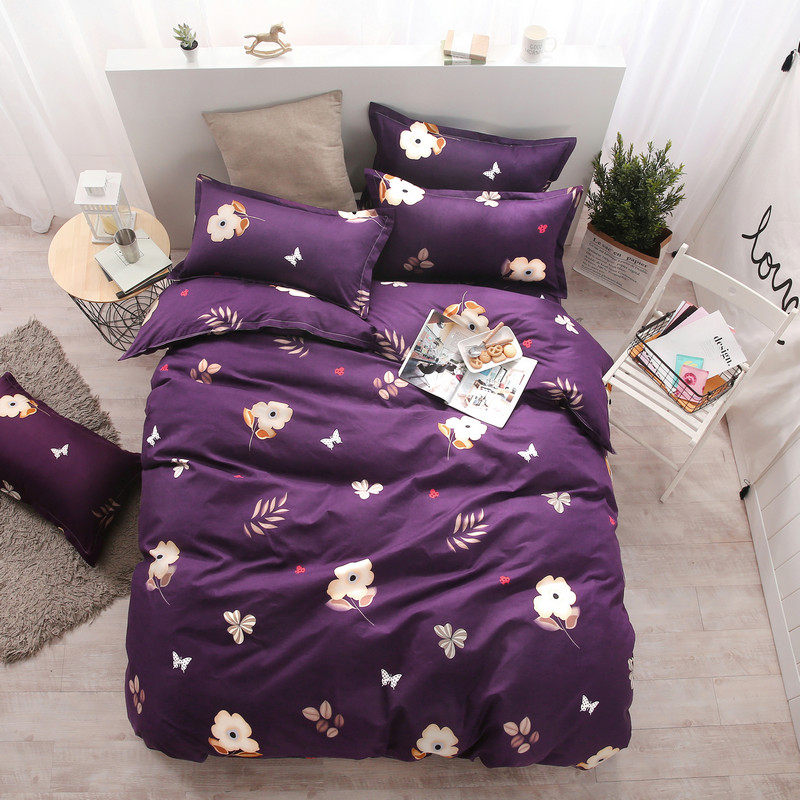 Colorful World Purple Flower Printing Pattern Four-Piece Bed Bedding Oversized Quilt + Bed + Pillowcase Comfortable Soft