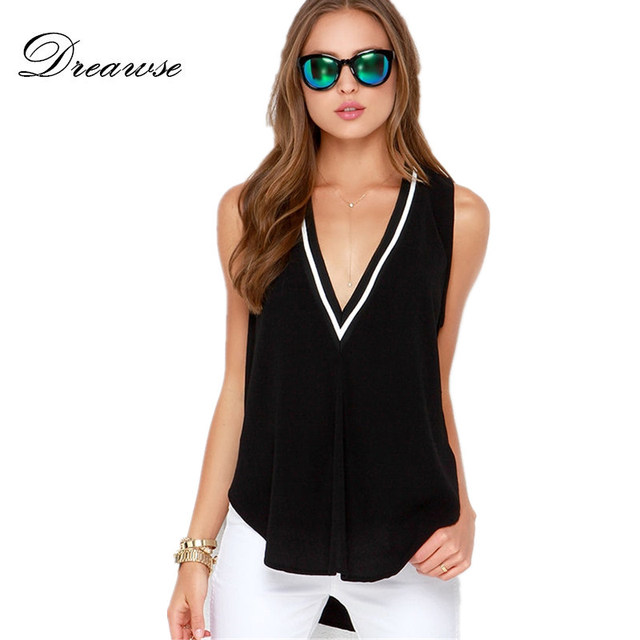0a18fb216ec6f9 Dreawse Street Europe Style Sexy Women V Neck Hit Color Ribs Stitching  Front Short Back Long Loose Thin Sleeveless T-shirt DB342